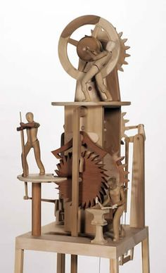 Heike Pickett Gallery and Steve Armstrong automata Wooden Gear Clock, Wooden Gears, Wood Clocks, Kinetic Toys, Kinetic Art, Marble Machine, Mechanical Art, 3d Laser, Wood Toys