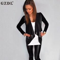 GZDL Fashion Black Women's Open Front Jacket Outwear Long Sleeve Leather Coat Women Solid Casual Slim Female Coats Jacket CL3319