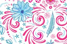 Close of of a pattern I created for a Lilly Pulitzer Signature Store. Drawn with Adobe Illustrator and Photoshop.  #laurakerbyson #illustration #illustrator #graphics #photoshop #Indesign #marketing #advertising #lillypulitzer #fabric #pattern #design