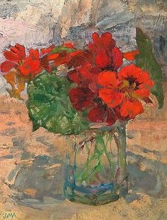 Old Paint — stilllifequickheart: Diana Armfield Nasturtiums. Art Floral, Flower Vases, Flower Art, Small Canvas Paintings, Still Life Flowers, Still Life Art, Indigenous Art, Matisse, Painting Inspiration