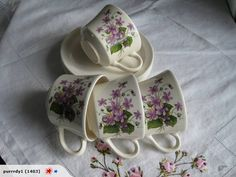 """VIOLETS"" wonder if this came as a boxed set of 4 cups and saucers"