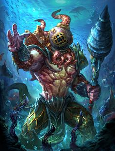 Another Smite character! Lore Deep beneath the turbulent tides of the ocean lingers a God of idle rage. Smite Poseidon king of the deep Mythical Creatures Art, Fantasy Creatures, Sea Creatures, Character Concept, Character Art, Concept Art, Octopus Art, Wow Art, Sea Monsters