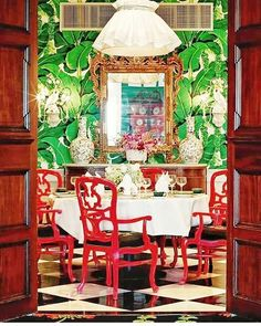 """The Glam Pad: A Carleton Varney Masterpiece, The Grand Hotel Takes You """"Somewhere in Time"""" Brazilliance wallpaper in the Cottage restaurant, awesome . Restaurant Chalet, Cottage Restaurant, Estilo Kitsch, Casa Milano, Hollywood Regency Decor, Interior Decorating, Interior Design, Room Interior, Luxury Interior"""