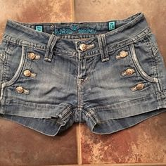 Sang Real denim jean shorts Unique detailed Sang Real shorts.  Awesome shorts!  Super cute/sexy on!!!  . Excellent condition  Sang Real Shorts Jean Shorts