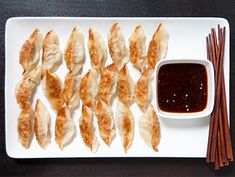 Chef Ming Tsai created this recipe for Epicurious's Wine. Serve the potstickers with his dim sum dipper and cranberry-teriyaki glaze. Pork Pot Stickers, Pot Stickers Recipe, Dumpling Recipe, Dumplings, Asian Recipes, Ethnic Recipes, Pork Recipes, Appetizer Recipes, Appetizers