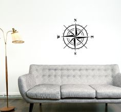 Nautical Compass Rose Decal - Vinyl Wall Decal 1111
