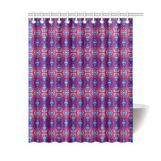 "Fire Colors and Turquoise Purple Shower Curtain 60""x72"""