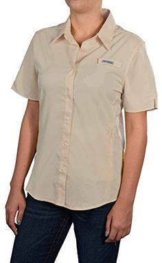 Columbia Womens Crystal Springs Short Sleeve ShirtBeigeMedium >>> Want additional info? Click on the image.  This link participates in Amazon Service LLC Associates Program, a program designed to let participant earn advertising fees by advertising and linking to Amazon.com.