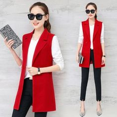 "Universe of goods - Buy ""Autumn Sleeveless Blazer Vest 2018 Office Lady Long Vest Women Black Red Pocket Outwear Jacket"" for only USD. Sleeveless Blazer Outfit, Long Vest Outfit, Cardigan Long, Sleeveless Jacket, Blazer Outfits, Sleevless Blazer, Blazer Fashion, Fashion Boots, Dress Outfits"