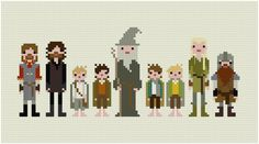 Impossibly Cool 8-Bit Cross-Stitched Fellowship of the Ring.