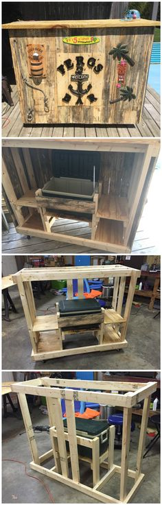 I wanted to create a nice looking bar to store my cooler in for summer days by our pool. The hardest part was figuring out the framing to include the platform to fit the cooler on. All together this took me about 17 hours. Pallet Crafts, Pallet Ideas, Pallet Projects, Diy Projects, Recycled Pallets, Wooden Pallets, Pallet Benches, Pallet Couch, Pallet Tables