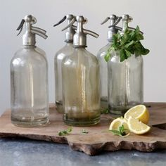 Our AFH FOUND- Vintage Glass Seltzer Bottle is the real deal and each one will vary. For more vintage bottles and other found items visit Antique Farmhouse today! Shabby Chic Farmhouse, Antique Farmhouse, Farmhouse Style Decorating, Farmhouse Decor, Antique Bottles, Vintage Bottles, Vintage Perfume, Antique Glass, Antique Quotes