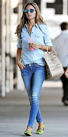 Olivia Palermo. Sunglasses – Westward Leaning; Shirt – Topshop; Jeans – Rebecca Minkoff; Shoes – Pretty Ballerinas