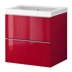 """BATHROOM // GODMORGON/ODENSVIK Sink cabinet with 2 drawers - high gloss red, 23 5/8x19 1/4x25 1/4 """" - IKEA"""