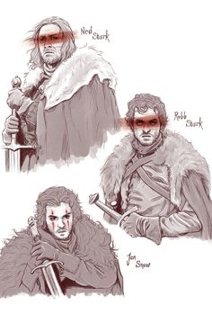 Game of Thrones - Lovely art - Ned Stark, Robb Stark, Jon Snow Arte Game Of Thrones, Game Of Thrones Artwork, Game Of Thrones Fans, Game Of Thrones Cartoon, Casa Stark, House Stark, Eddard Stark, Ned Stark, Game Of Thones