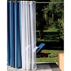 Outdoor Curtain Panels as a temporary privacy solution for our open backyard...