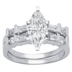 1.28 Carat Marquise Cut / Shape GIA Certified 14K White Gold Channel Set Baguette And Round Diamond Wedding Set