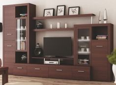 Obývacia stena - Tempo Kondela - Atlantis New gaštan (s osvetlením) Tv Unit Furniture, Home Decor Furniture, Furniture Design, Modern Tv Room, Modern Tv Wall Units, Living Room Modern, Tv Unit Decor, Tv Wall Decor, Living Room Bookcase