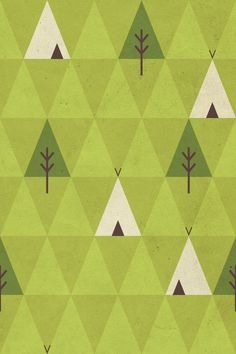 Geometric pattern design in a monochromatic color palette. Teepee and pine tree illustrations Graphic Patterns, Textile Patterns, Print Patterns, Surface Pattern Design, Pattern Art, Teepee Pattern, Green Pattern, Quilt Modernen, Pattern Illustration