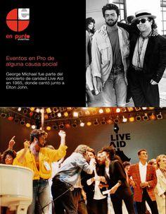 """George Michael fue parte del concierto de caridad Live Aid en 1985, donde cantó junto a Elton John. Los ingresos del sencillo """"Don't Let The Sun Go Down On Me"""" fueron divididos entre 10 organizaciones de caridad para niños con sida apoyado campañas para ayudar a conseguir $32 millones (£15 millones) para los niños con enfermedades terminales."""