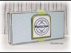 Hier zeige ich euch eine Anleitung zur Erstellung einer Box, in die zwei Schoko Riegel Platz haben. ©KayBeScraps http://kaybehybrid.blogspot.de Stempel und D...