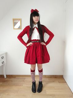 Baby The Stars Shine Bright Cherry Lace Headbow, Baby The Stars Shine Shirring Blouse, Un Jour Ailleurs Red Cardigan, Un Jour Ailleurs Leather Belt, Metamorphose Velvet Embroideried Skirt, Baby The Stars Shine Bright Princess Drop Striped High Socks, Noir
