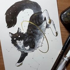 No description of the photo. Animal Drawings, Cool Drawings, Dessin Old School, Posca Art, Mythical Creatures Art, Cat Tattoo, Cat Drawing, Pretty Art, Cat Art
