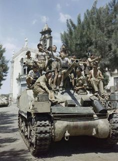 County of London Yeomanry tank of the British Eighth Army in the village of Milo near Catania August 1943