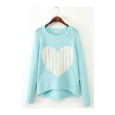 Rotita Long Sleeve Heart Pattern Light Blue Sweater ($27) ❤ liked on Polyvore featuring tops, sweaters, blue, collar top, long sleeve pullover, blue sweater, sweater pullover and heart print top