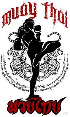 muay thai kick thailand martial art sport logo badge sticker shirt by lu2k