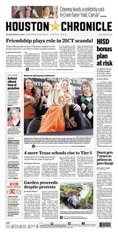 #20160204 #USA #TEXAS #HOUSTON #HoustonChronicle Thursday FEB 4 2016 http://www.newseum.org/todaysfrontpages/?tfp_show=80&tfp_page=8&tfp_id=TX_HC