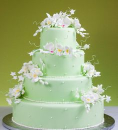 Celadon Thai orchid wedding cake
