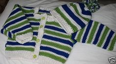 Items similar to Strippy Sweater and Hat Set on Etsy Knit Baby Sweaters, Sweater Set, Baby Knitting, Baby Shower Gifts, Monogram, Stitch, Children, Crochet, My Style