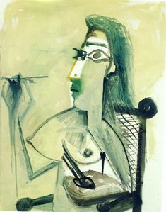 Pablo Picasso - Drawing nude seated in armchair (1965)