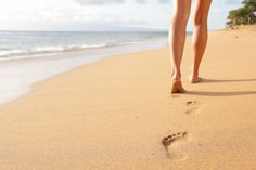 Picture of Beach travel - woman walking on sand beach leaving footprints in the sand. Closeup detail of female feet and golden sand on Kaanapali beach, Maui, Hawaii, USA. stock photo, images and stock photography. Bio Oil Pregnancy, Yoga Positionen, Yeast Infection Symptoms, Aerobic, Running On The Beach, Lunge, Listerine, Warts, Beach Trip