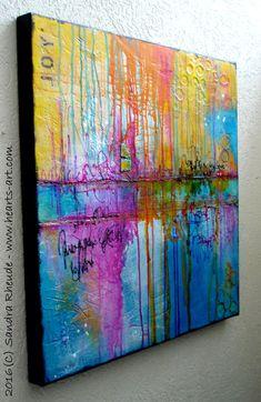Ich male meine Bilder mit hochwertigen Künstler-Acrylfarben auf leinwandbespannten Holzkeilrahmen (ca. 2 cm stark), einige auch auf extra-tiefen Rahmen bis zu 4,5 cm Stärke, in MixedMedia Technik unter Verwendung verschiedenster Materialien. Alle Bilder sind rundum bemalt, so dass Du dafür keine zusätzliche Rahmung brauchst. Du kannst Dein Bild sofort und direkt an Deinem Lieblingsplatz aufhängen.