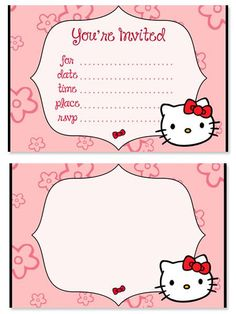 Need to print free Hello Kitty birthday party invitations? You might like these kids party invitations, in classic red, pink, and black Hello Kitty colors. This Hello Kitty birthday party Hello Kitty Birthday Invitations, Hello Kitty Theme Party, Birthday Invitation Card Template, Hello Kitty Themes, Printable Invitation Templates, Kids Birthday Party Invitations, Birthday Parties, Birthday Stuff, Free Printable