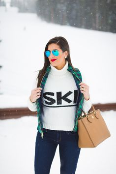 ski turtleneck, winter style, winter fashion, plaid vest, plaid quilted vest, plaid puffer vest, brown booties, colorado, crested butte, ski town, ski sweater, tory burch robinson pebbled square tote, ray ban flash lens, vineyard vines plaid vest // grace wainwright from a southern drawl