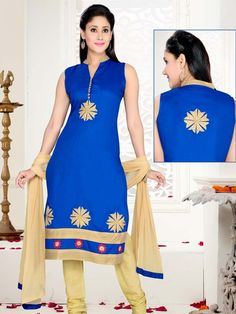 Delightful blue color chinese collar kameez crafted on silk with embroidered motifs. Item Code; SLTY48556   http://www.bharatplaza.com/new-arrivals/salwar-kameez.html