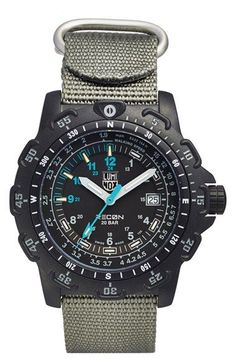 Free shipping and returns on Luminox 'Land - Recon Point Man' Nylon Strap Watch, 45mm at Nordstrom.com. Intended to provide simple, efficient navigation tools on the ground, this durable multifunction watch boasts a carbon-reinforced polycarbonate case, an easy-to-read tachymeter to track your walking speed and a compass rose that allows the wearer to determine his position whenever the sun is visible. An antireflective sapphire crystal face protects the precise multifunction display, while…