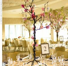 Cherry Blossom Wedding Flower Centerpieces - All brides who are lucky to be planning a romantic wedding during the spring season should take a minute of their time to examine closely these wonder. Wedding Table Centerpieces, Flower Centerpieces, Reception Decorations, Tall Centerpiece, Centrepieces, Centerpiece Ideas, Wedding With Kids, Free Wedding, Wedding Ideas