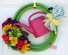 Spring/Summer garden hose wreath | Learn Deco Mesh Wreath Design Forum