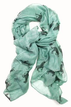 Wild Horses Scarf in Teal