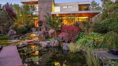 """The koi pond is apparently in the shape of the Japanese symbol for """"heart.""""  Modern Colorado Home With Amazing Japanese Gardens Asks $3.9M - Curbed"""