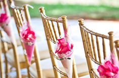 love this idea for ceremony seating. fill the cones with confetti, flower petals or seed for the guests to throw at the bride and groom!