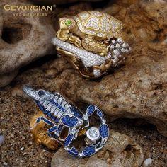 """The Scorpion King"" ring and ""Turtle"" ring by GEVORGIAN www.gevorgian.com"