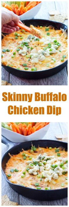 Skinny Buffalo Chicken Dip | All the flavor of buffalo wings in a cheesy, creamy, lightened up dip!