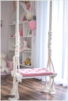 florists OhSwing Swing Medium on childrens ropes 60 x 25 cm. Elegant swing on ropes with padded seat in powder pink color. The swing can be a beautiful decoration in a nursery or living room Kids Bedroom Designs, Room Design Bedroom, Room Ideas Bedroom, Kids Room Design, Bedroom Ideas For Girls, Cool Girl Bedrooms, Room Decor For Girls, Bed For Girls Room, Bedroom Stuff