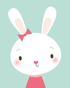 Nursery art print Cute rabbit kids room art baby shower