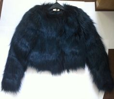 New - Love Label Womens Cropped Faux Fur Jacket Dark Green Size 6 RRP £49.99